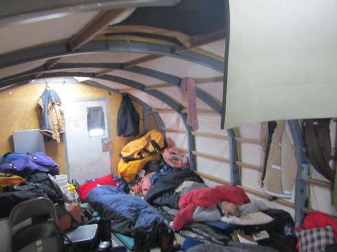 Inside the Rac tent during the traverse