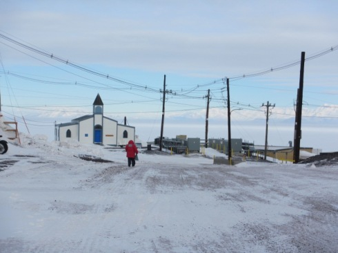 View of the Chapel with the Trans Antarctic range in the background