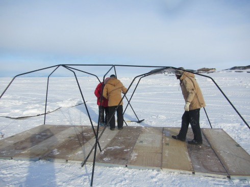 Setting up our shelter on the sea ice