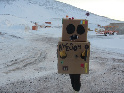 I walked home with this cardboard robot from the Halloween party...His name is Awesome-O (its a South Park robot)