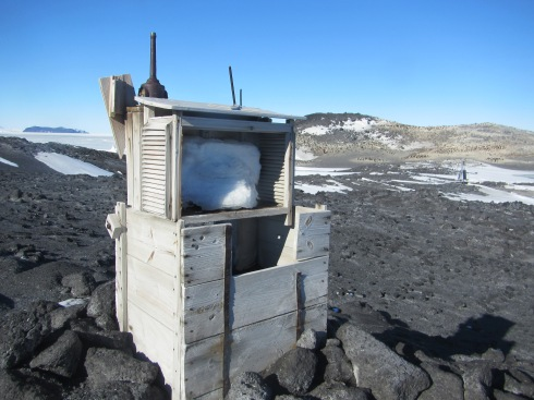 A weather station outside  Shackleton's Hut